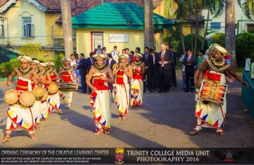 Kandyan drummers at the opening of the Creative Learning Centre, Trinity College Kandy