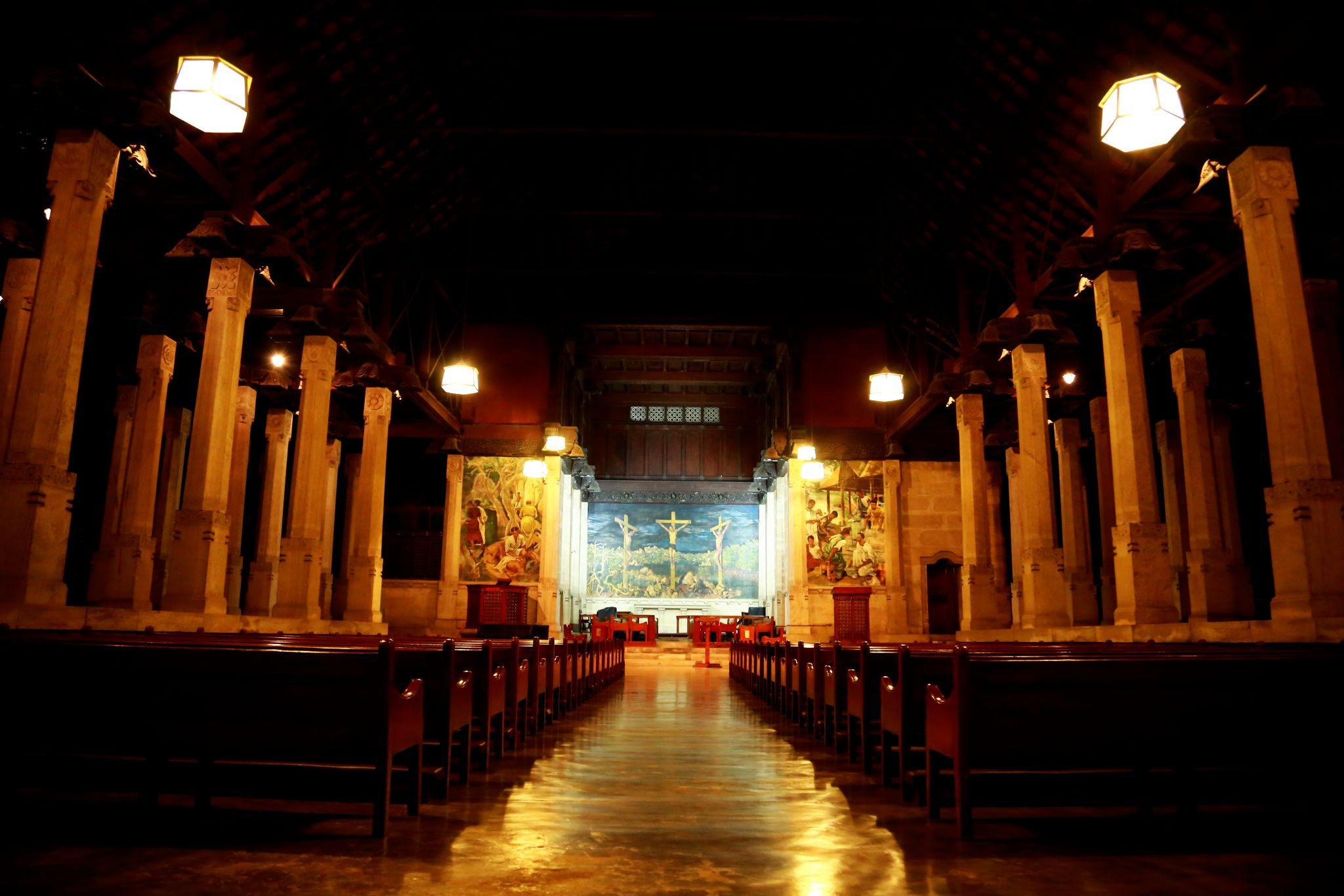 Trinity College Chapel at night