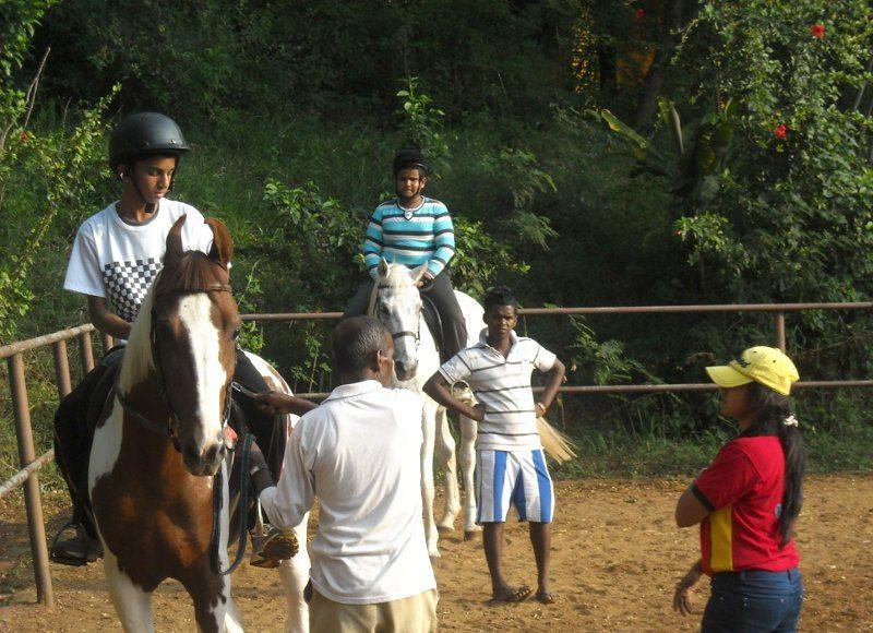 Children on horseback, Trinity College Horse Riding Club